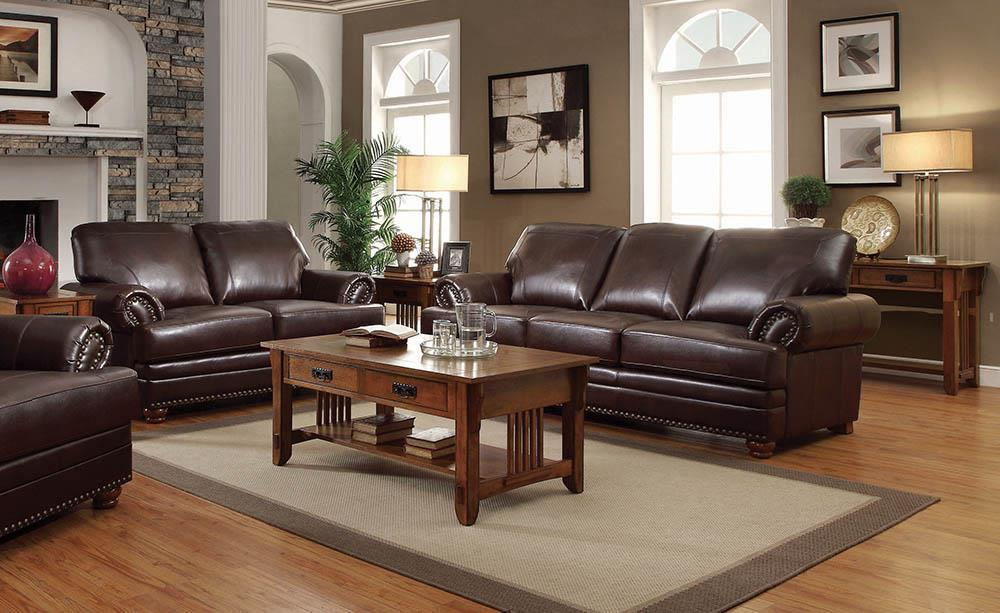 Colton Brown Leather Two-Piece Living Room Set image