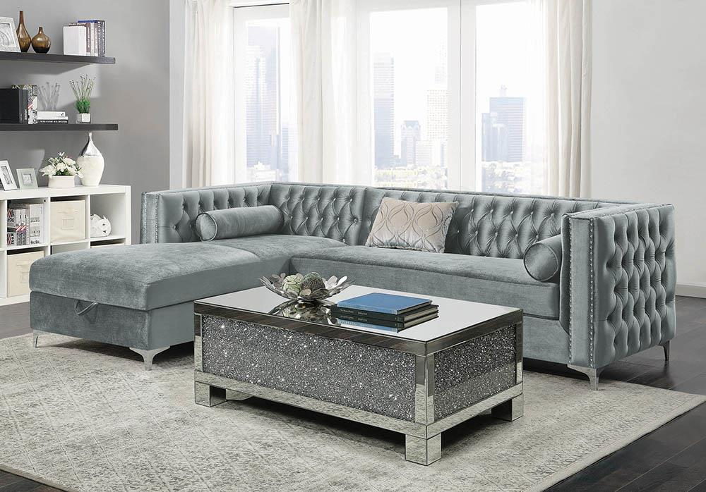 Bellaire Contemporary Silver and Chrome Sectional image