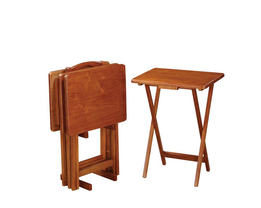 Brown Tray Table Set With Stand image
