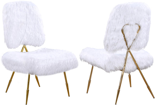 Magnolia White Faux Fur Accent Chair image