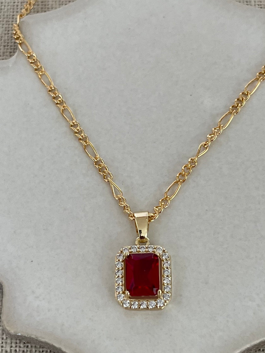 Jules Ruby Crystal Necklace