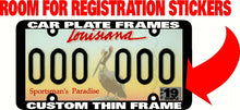 Load image into Gallery viewer, NEW THIN FRAME ROOM FOR REG STICKER CUSTOM PERSONALIZED License Plate Frame
