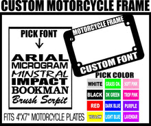 Load image into Gallery viewer, BLUE CUSTOM FONT MOTORCYCLE CUSTOM PERSONALIZED License Plate Frame COLOR