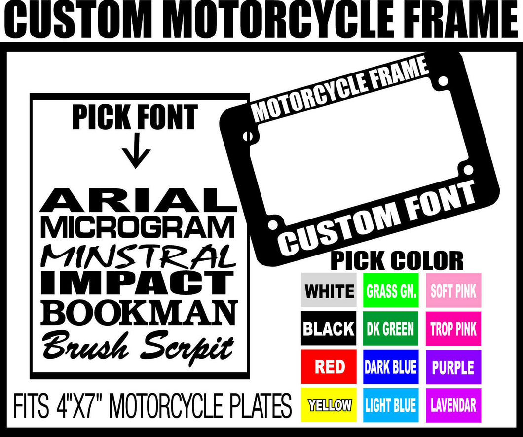 BLUE CUSTOM FONT MOTORCYCLE CUSTOM PERSONALIZED License Plate Frame COLOR