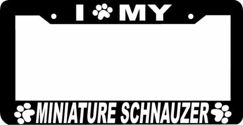 MINIATURE SCHNAUZER DOG  paw print License Plate Frame