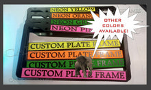Load image into Gallery viewer, THIN FRAME VERTICAL TEXT HOLDER CUSTOM  WORDING CUSTOMIZED License Plate Frame