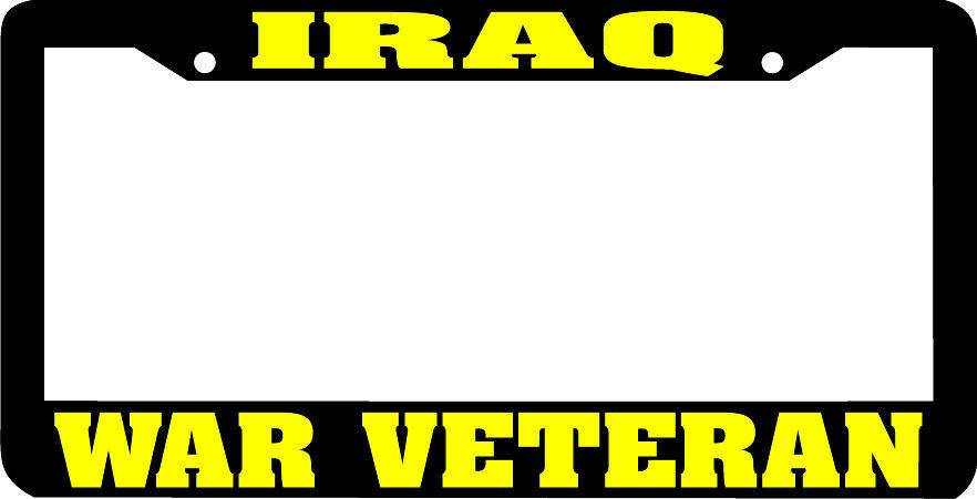 Yellow/Black IRAQ WAR VETERAN License Plate Frame