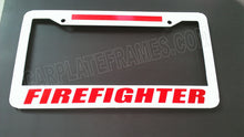 Load image into Gallery viewer, WHITE BRIGHT FIREFIGHTER RED Line License Plate Frame thin REFLECTIVE fire