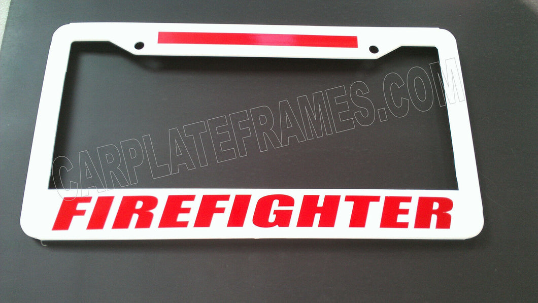 WHITE BRIGHT FIREFIGHTER RED Line License Plate Frame thin REFLECTIVE fire