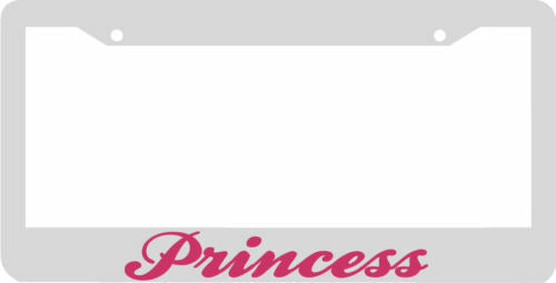 Princess white/pink License Plate Frame