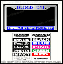 Load image into Gallery viewer, CUSTOM GREEN CHROME PLASTIC PERSONALIZED License Plate Frame COLOR FONT CHOICE