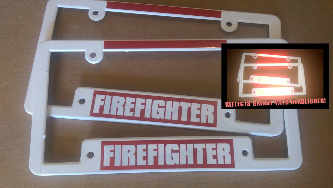 lot of 2 WIDE BOTTOM REFLECTIVE FIREFIGHTER fire fighter red License Plate Frame