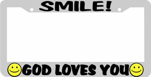 SMILE GOD LOVES YOU SMILEY FACE License Plate Frame