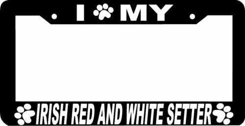 IRISH RED AND WHITE SETTER paw License Plate Frame