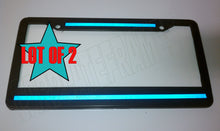 Load image into Gallery viewer, REFLECTIVE! LOT OF 2 Top Bottom Blue Line License Plate Frame thin police safety
