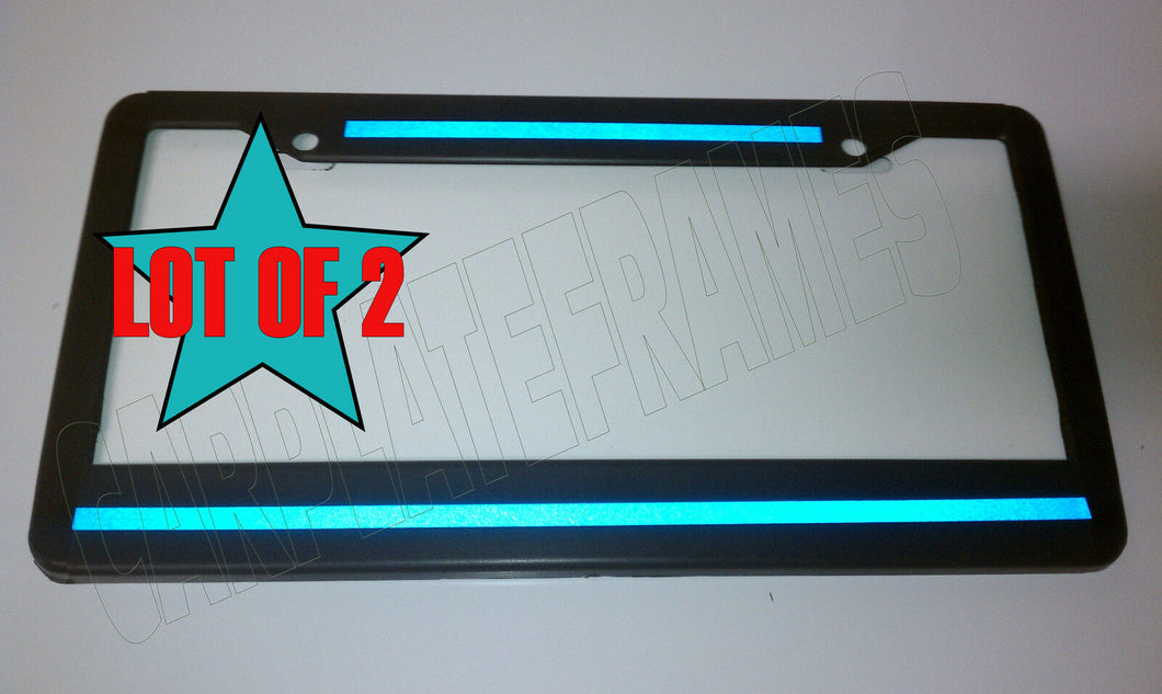 REFLECTIVE! LOT OF 2 Top Bottom Blue Line License Plate Frame thin police safety
