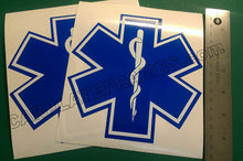 Load image into Gallery viewer, LOT OF 2 STAR OF LIFE AMBULANCE EMT EMS RESCUE PARAMEDIC BLUE REFLECTIVE DECAL