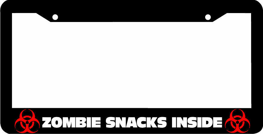 ZOMBIE SNACKS INSIDE License Plate Frame