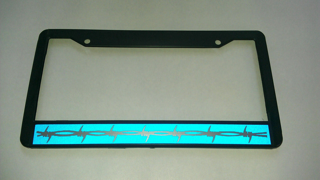 BARBED WIRE Thin Blue Line License Plate Frame REFLECTIVE Correctional Officer