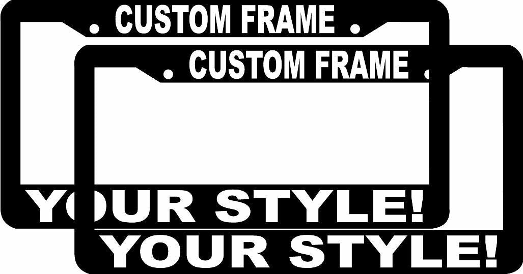 lot of 2 CUSTOM PERSONALIZED WHITE LETTERS customized vanity License Plate Frame
