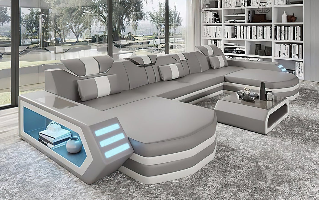 Keen Small U Shape Sectional with LED Light