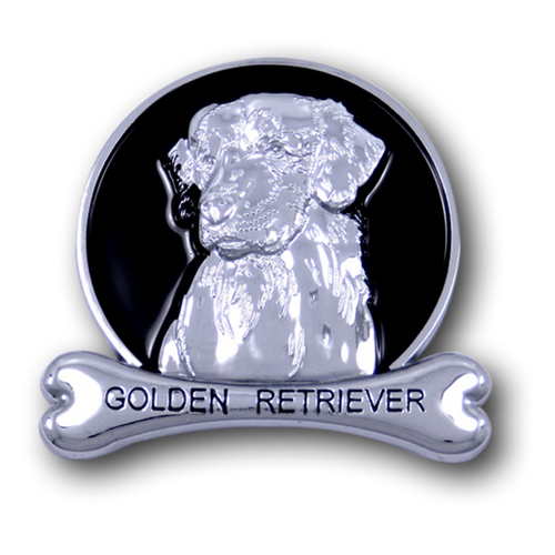 Golden Retriever Chrome Car Emblem from ChromAnimals
