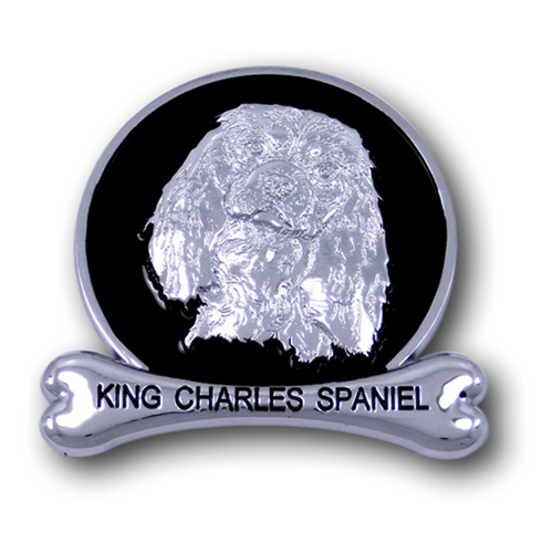King Charles Spaniel Chrome Car Emblem from ChromAnimals