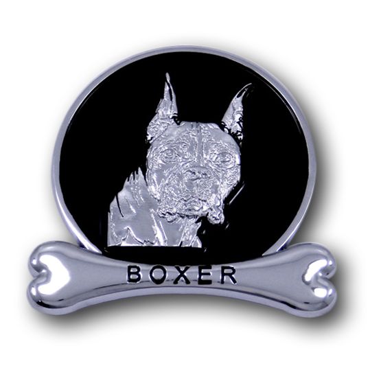 Boxer Chrome Car Emblem from ChromAnimals