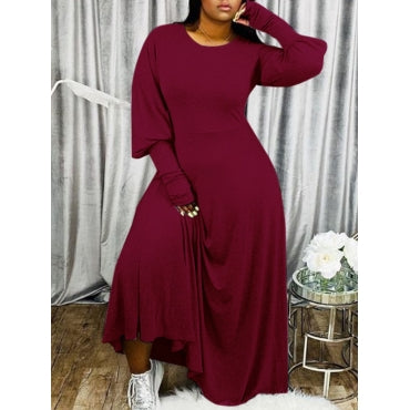 Puffed Sleeves Maxi Dress - Burgundy