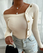 Off Shoulder Button Sweater Khaki