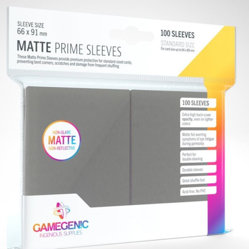 Gamegenic Matte Prime 100 Pack Dark Gray Sleeves