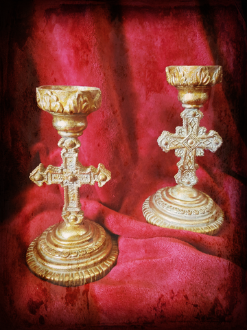 Gothic Cross Candle Holders