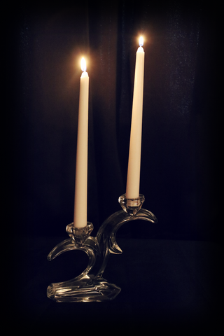 Crescent Moon Crystal Candle Holder