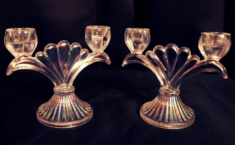 Carnival Glass Candle Holders
