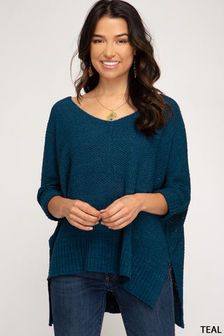 3/4 SLEEVE HI LOW SWEATER WITH FOLDED CUFFS