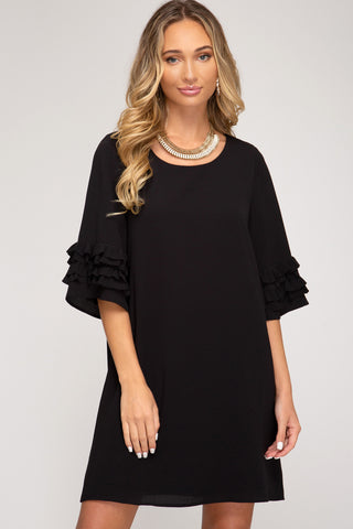 3/4 Ruffle Sleeve Dress