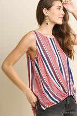 Striped Sleeveless Round Neck Top with a Pintuck High Low Hem and Side Slits