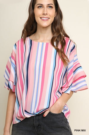 Multicolor Striped Round Neck Gathered Top with Layered Ruffle Sleeves