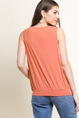 Gathered A-Line V-Neck Tank Top