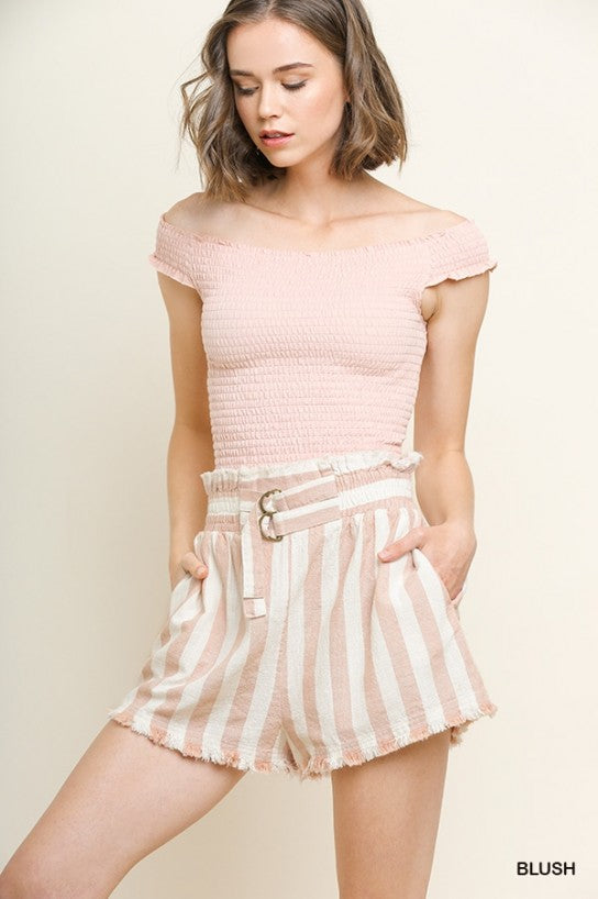 Striped Linen Blend High Waisted Shorts