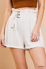 Linen Blend High Waist Shorts with Elastic Waist with Belt and Fringe Details