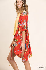Sheer Floral Print Bell Sleeve Kimono with Waist Tie and Side Slits