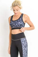 Block Camo Print Cut-Out Racerback Sportsbra