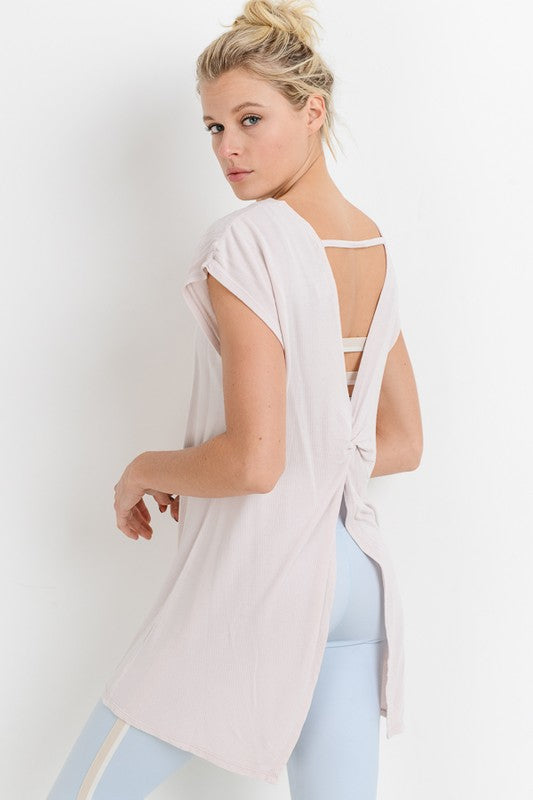 Mineral-Wash Bow Cutout Back Flowy Top