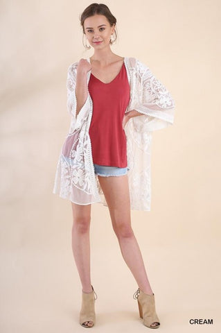 Floral Lace Open Front Kimono with Waist Tie