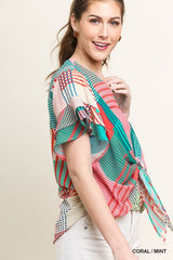 Geometric Mixed Print Short Ruffle Sleeve V-Neck Top