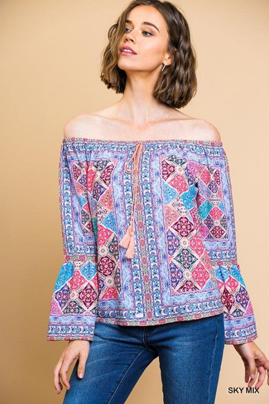 Scarf Print Long Bell Sleeve Off Shoulder Top with Tassel Drawstring
