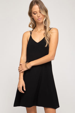WOVEN CAMI SHIFT DRESS WITH BINDING AND STRAPPY BACK DETAIL