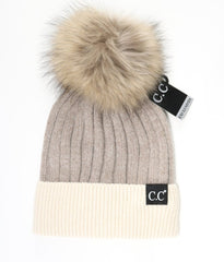 CC Black Label Fur Pom Pom Beanie