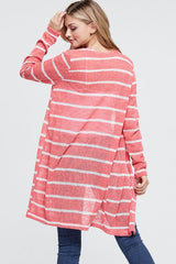 Striped Knit Open Cardigan